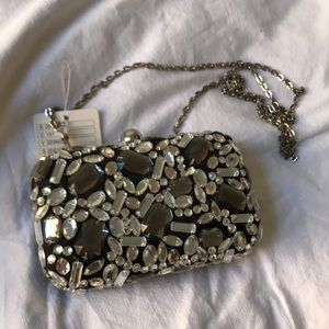 UO Kimchi Blue sparkly clutch with chain strap